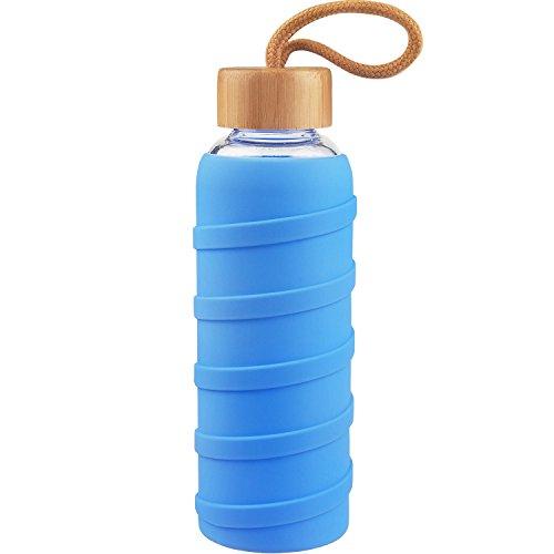 SHBRIFA Sports Glas Wasserflasche 480ml / 1000ml / 1 Liter, Glas Trinkflasche mit Silikonhülle und Bambus Deckel