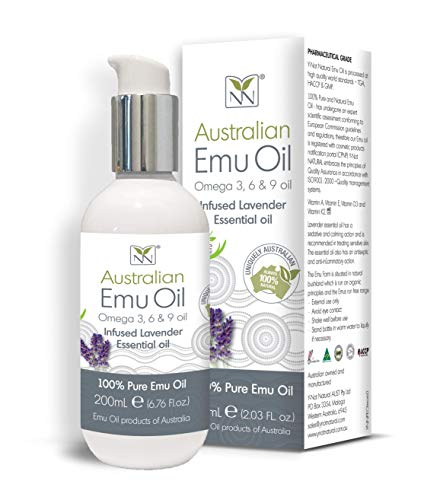 100% Pure Australian Emu Oil w/Lavender Essential Oil - 6.8 oz Bottle - The Ultimate Moisturizer for Skin, Hair, Nails, and Scalp by Y Not Natural