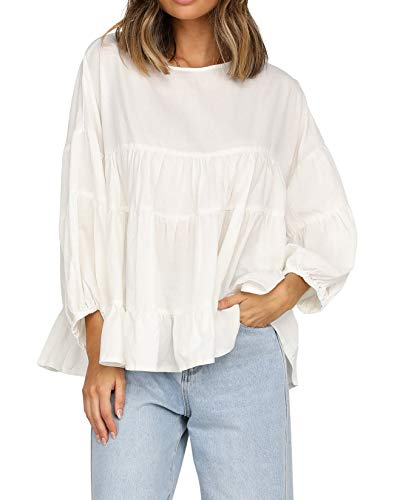 R.Vivimos Women's Casual Loose Round Neck Long Sleeve Babydoll Tunic Blouse Pleated Ruffle...