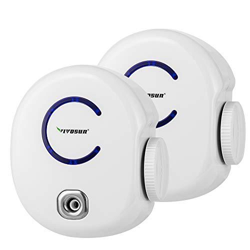 VIVOSUN 2-Pack Plug-in Mini Ionic Air Purifier Ozone Generator - Portable Odor Eliminator, Adjustable Efficiency 10-50mg/h