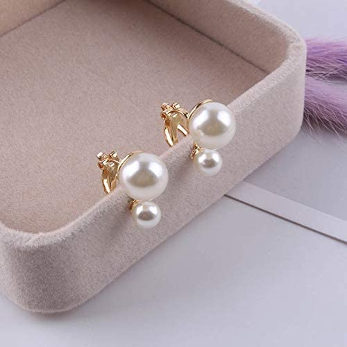 Simulated Pearl Statement Clip on Earrings Women Wedding Party no Pierced Earrings Maxi Jewelry Love