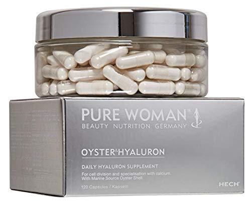 HECH Pure Woman Oyster & Hyaluron, Nährstoff-Kapseln, mit Calcium-Mineralien aus der Auster, ideale Ergänzung zu Kollagen-Produkten, reines Hyaluronsäure-Salz, 120 Kapseln