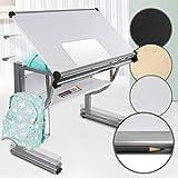Kinder- und Jugendschreibtisch - neigbar, stufenlos höhenverstellbar, inklusive Taschenhalter, Stiftablage und Lineal - Kinderschreibtisch Schülerschreibtisch Schreibtisch Zeichentisch (Weiß)