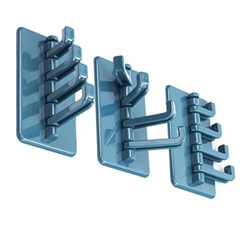 3 x blaue drehbare selbstklebende Wandhaken zum Aufhängen von Gadgets, Schlüssel, Handtuch, Hut, Badezimmer, Küche, Garage
