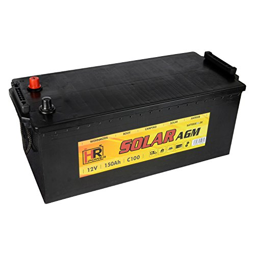 HR Solar AGM | 12V 150Ah Versorungsbatterie als Wohnmobilbatterie Bootsbatterie Solarbatterie Wohnwagenbatterie VRLA Vliesbatterie