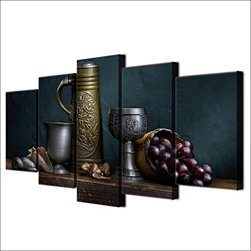 N\A Grandes Cuadros Decorativos Modernos para Sala - Cuadro Pared Lienzo - Vinoteca De Vino Clásica Vintage - Cuadros Decoracion Pasillo - 5 Panel