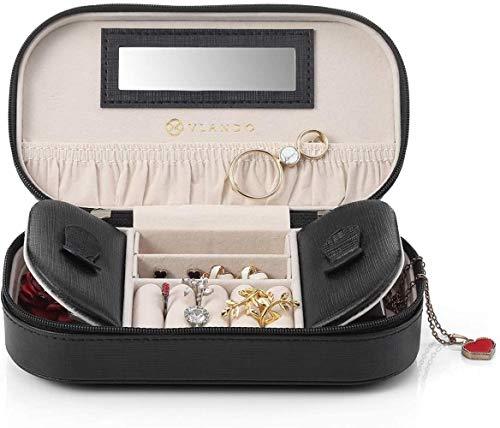 Travel Sieraden Organizer Box Bag, Portable Mirrored Jewellry Case Handtas met Tassel Zip for armbanden, oorbellen, ringen, kettingen, broches (zwart), Kleur Naam: 1.pink (Color : 2.black)