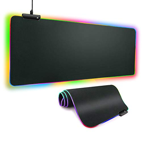 Madala RGB Gaming Mouse Pad, Large Extended Soft LED Mouse Pad with 12 Lighting Modes 2 Brightness Levels, Anti-Slip Rubber Base and Waterproof Surface for Computer Keyboard/Mouse mat (31.5×11.8 inch)