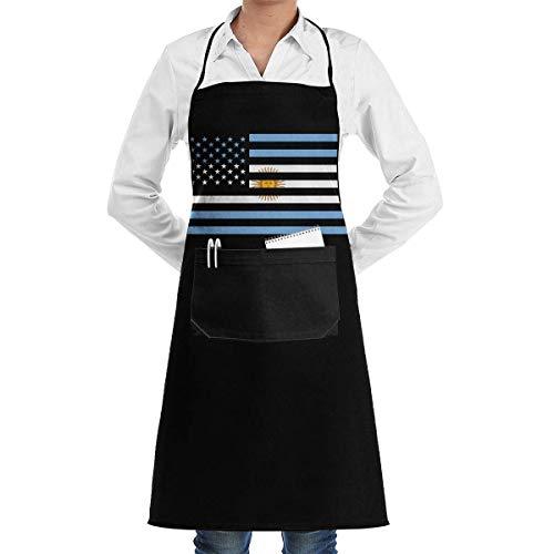N\A Delantales para Hornear en casa con Bolsillo Conveniente, Delantal con Peto con la Bandera de Argentina y Estados Unidos para cocinar