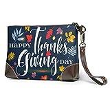 BFDX Giorno del Ringraziamento Frasi Frase Portafogli in pelle da donna Pochette Schede telefoniche Portafogli