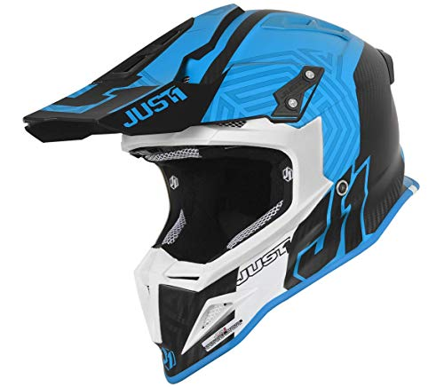 JUST 1 Syncro Carbon Fiber MX Off-Road Motocross Motorcycle Helmet (Syncro Blue White, Large)