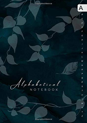 Alphabetical Notebook: B5 Lined-Journal Organizer Medium with A-Z Alphabet Tabs Printed | Cute Vine Leaves Design Marble Teal Black