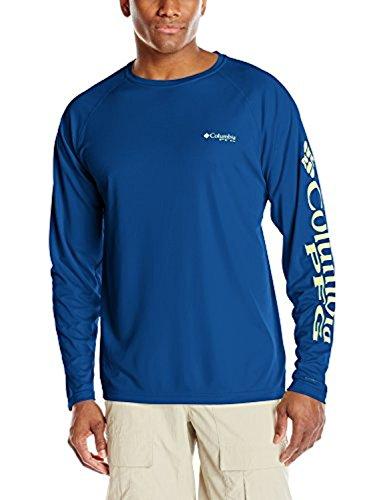 Columbia PFG Terminal Tackle™ - Camiseta de Manga Larga para Hombre, Talla Grande, Azul Marino/Logotipo Verde napa, Talla pequeña
