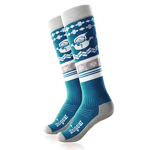 Unigear Kids Ski Socks, Merino Wool Warm and Soft Winter Socks, Over The Calf, Skiing Snowboarding Biking for Boys and Girls (Blue, Small)