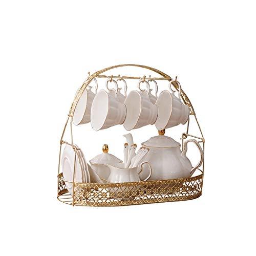 Infuser Porcelain Teapot Tetera cerámica con remojo de acero inoxidable removible Estante de almacenamiento estilo moderno estilo de té de lujo adecuado para flor de café y té de fruta Tea Set Gift