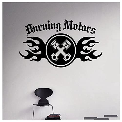 KBIASD Calcomanía de pared de motores ardientes pegatina de vinilo para máquina automática decoración de garaje Interior de casa decoración extraíble calcomanías de arte de pared 84x49cm