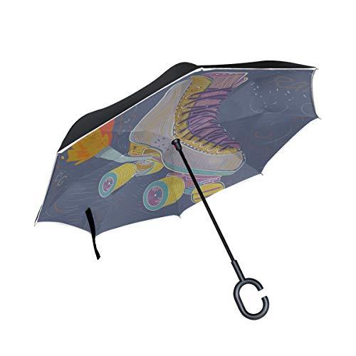 Paraguas de Mesa Plegable Invertida de Doble Capa Dos Pares de Patines de Ruedas - Paraguas Plegable para Hombres y Mujeres para Hombres Paraguas Protección contra los Rayos UV a Prueba de Viento inv