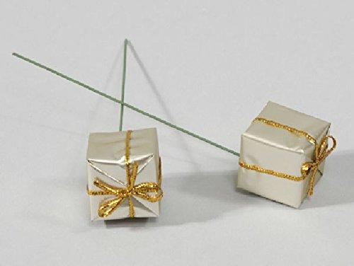 Schreiber Deko 60x Geschenkpäckchen am Pick/Champagner / 25x25mm