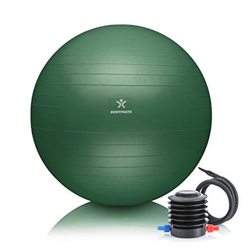 BODYMATE Gymnastikball Sitzball Trainingsball mit GRATIS E-Book inkl. Luft-Pumpe, Ball für Fitness, Yoga, Gymnastik, Core Training, für starken Rücken als Büro-Stuhl Midnight-Green 65cm