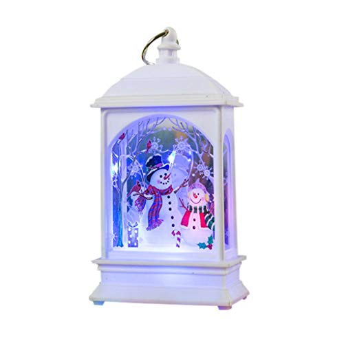 Weihnachtsdeko,Iwähle Vintage Kleine Weiße Öllampe LED Laterne mit Battrien,Tragbare Teelicht Simuliert Kerzen Flammelos mit Schneemann, Weihnachten Atmosphäre Beleuchtung Dekoration mit Kupferdraht