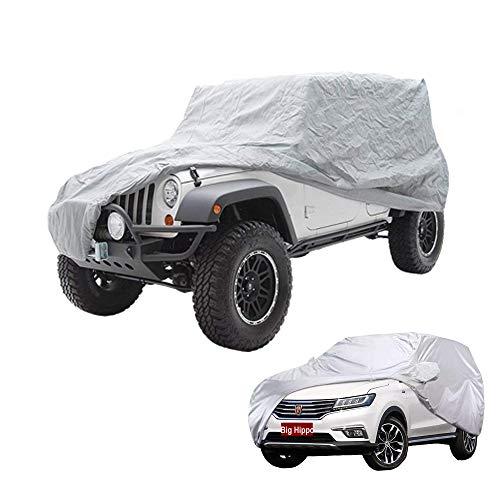 Big Ant Funda de Coche, Exterior Cubierta de Coche para Jeep Wrangler 2 Puertas/SUV, Impermeable Funda para Coche Resistente al Sol, Polvo,Viento, Lluvia, Nieve y Rasguño (469 x 190 x 165 cm)