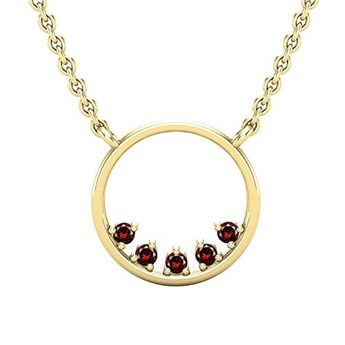 Dazzlingrock Collection Colgante de círculo abierto de 0,05 quilates de diamantes rojos redondos con cadena de oro de 45,7 cm   oro amarillo de 10 quilates