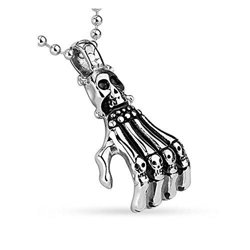 Bungsa Skelett Totenkopf Hand mit Halskette Silber Edelstahl Schmal für Damen & Herren (Skull Kettenanhänger Pendant Anhänger Necklace Chirurgenstahl Frauen Männer Schmuck)