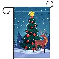 ガーデンフラッグ縦型両面 12x18in 庭の屋外装飾.森の中の野生のトナカイとクリスマスツリー