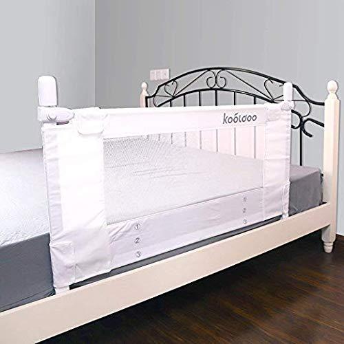KOOLDOO Bettschutzgitter 110cm Vertikaler Hebebettschutz Kinderbettgitter Fallschutz (ideal für Reisen) Bezug waschbar, Weiß