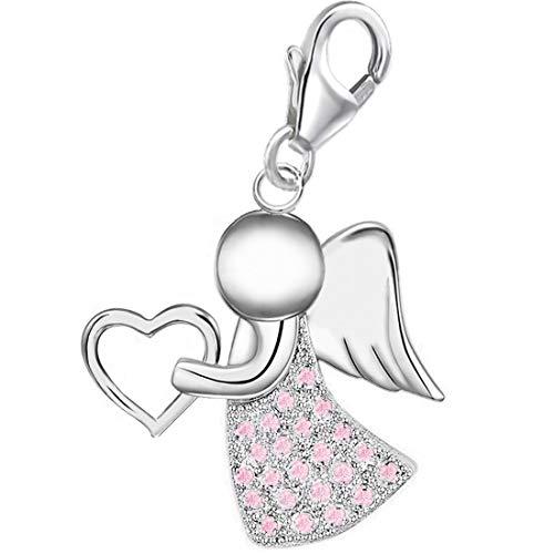 Zirkonia Schutzengel Herz Charm Anhänger für Damen Mädchen Armband 925 Echt Silber Engel (A-Silber/CZ-Hellrosa)