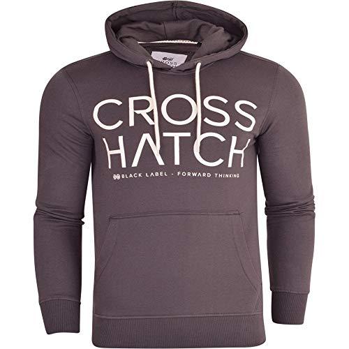 Crosshatch Herren Designer Casual Kapuzenpullover Fleece Sweatshirt Jacke Overhead Pullover Gr. Medium, dunkelgrau