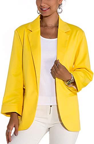 FLYCHEN Blazer Donna con Maniche Aperte 3/4 Estivo Stile Colori Brillante Giacca Colorata Donna Elegante Slim Fit - Giallo - M