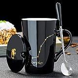 FYUCR 12 Costellazioni Tazza in Ceramica Creativa con Coperchio a Cucchiaio in Porcellana Nera e Oro Segno Zodiacale Tazza di caffè al Latte Bevanda d'Acqua,Scorpio