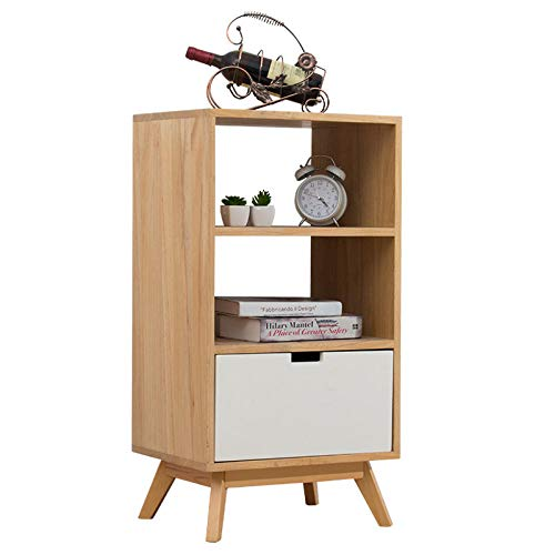 GLYYR Bedside Table Solid Wood With 1 drawers Removable Small Coffee Table Solid Wood Bedroom Office Coffee Bedroom Living Room Hallway Bathroom Furniture Corner Side Table Lazy