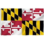 Anley Fly Breeze 3x5 Foot Maryland State Polyester Flag - Vivid Color and Fade Proof - Canvas Header and Double Stitched - Maryland MD Flags with Brass Grommets 3 X 5 Ft