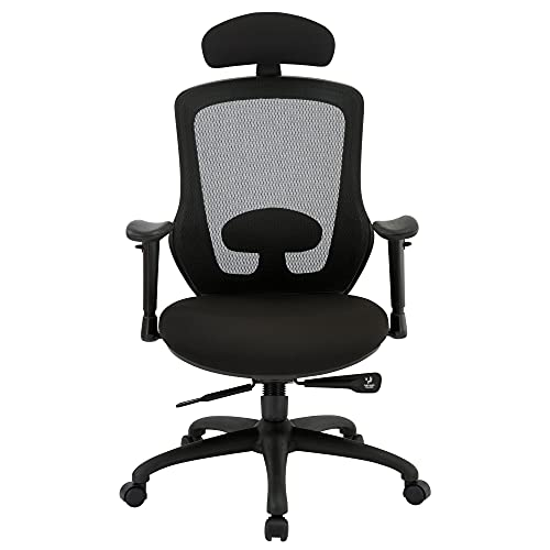 High Back Office Chair, Ergonomic Mesh Desk Chairs with Adjustable Headrest 3D Armrest Lumbar Support, Tilting & Lock Task Chair with Thick Seat Cushion, Comfortable Swivel Executive Chair, Black