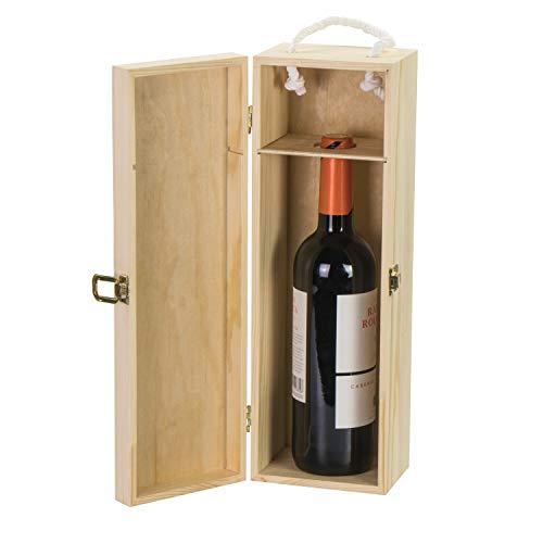 LAUBLUST Holzkiste für Weinflaschen – 38 x 13 x 12 cm, Natur, FSC® | Weinkiste mit Trage-Seil, Deckel & Verschluss – Geschenkbox für eine Wein-Flasche | Wein-Aufbewahrung | Überraschungskiste - 2