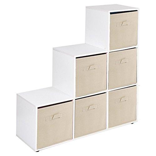 URBNLIVING Estantería de 6 cubos en forma de escalera con 6 cajones, Beige Drawers, White 6 Cubes