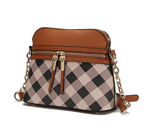 MKF Crossbody Bag for Women – PU Leather Pocketbook Handbag – Multi Pocket Messenger Purse, Shoulder Crossover