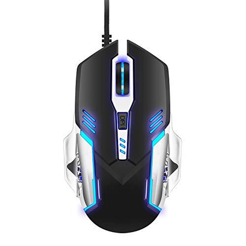 Ratón Gaming Profesional óptico, Ratón Gaming con Cable luz de respiración 7200 dpi Combo, Auto Dormir, 6 Botones para Mac PC Notebook Portátil-(Negro)