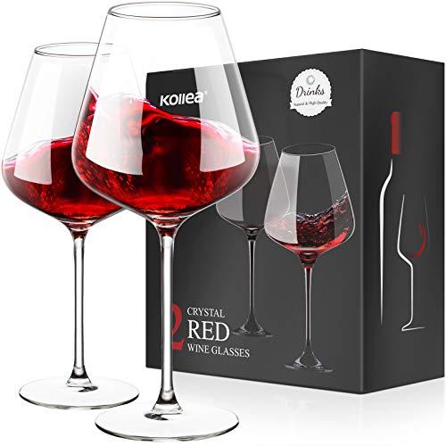 Cristallo Calice Vino Rosso, Kollea 2 Bicchieri da Vino Rosso Grandi Soffiato a Mano Senza Piombo, Eleganti Regali Bicchieri Vino Rosso per Compleanno, Anniversario, Matrimonio, Natale - 675 ML