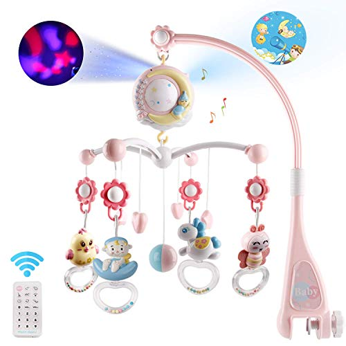 Baby Musical Crib Mobile with Timing Function Projector and Lights,Hanging Rotating Rattles and Remote Control Music Box with 150 Melodies,Toy for Newborn 0-24 Months