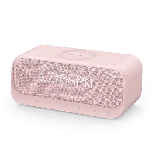 Anker Soundcore Wakey Qi 対応 Bluetooth スピーカー ワイヤレス充電器 高音質 ラジオ 目覚まし時計 10W出力 iPhone & Android対応 デュアルドライバー ステレオサウンド (ピンク)
