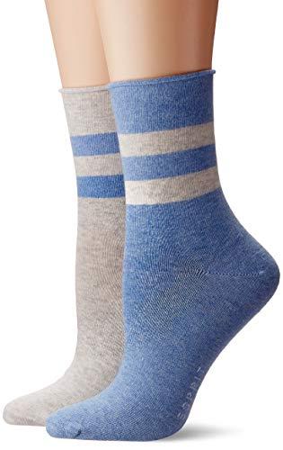 ESPRIT Damen Socken Sporty Melange Stripe 2er Pack - Baumwollmischung, 2 Paare, Blau (Sortiment 10), Größe: 35-38