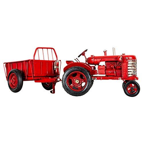 aubaho Modelltraktor mit Anhänger Traktor Trekker Modell Auto Metall Antik-Stil 33cm
