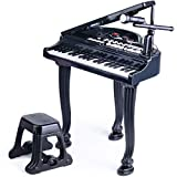 BAOLI 37 Keys Toddler Piano Toy Keyboard Black for Kids Birthday Gift 3 4 5 6 Years Old Kids with Microphone Stool Electronic Keyboard Multifunctional Toy Piano