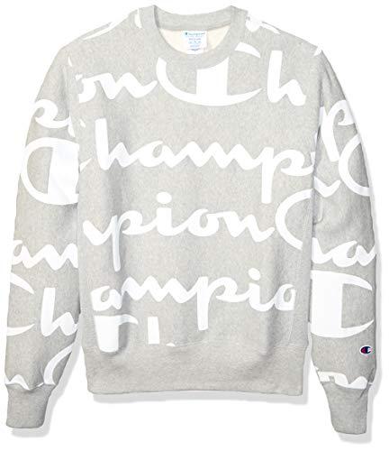 Champion Life Herren Reverse Weave Crew-Print Sweatshirt, Riesiges Chp Script Oxford Grey, XX-Large