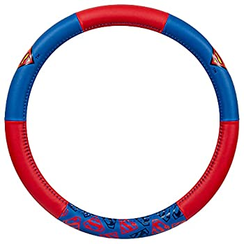 BDK Superman Car Steering Wheel Cover - Universal Fit Steering Wheel Cover with Officially Licensed Warner Brothers Graphics Great Automotive Accessory Gift Idea for Fans