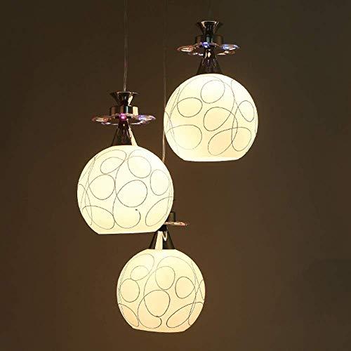YANQING Duurzame Hanglamp LED Ronde Bal Plafond Lamp Warm Licht Aluminium Glas Wit Zilver RVS Kroonluchter Slaapkamer Eenvoudige Moderne Hanglamp