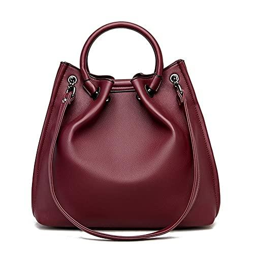 Lady Bag - Bolso bandolera de piel suave para mujer, con múltiples capas, diseño clásico y bolso de lujo (color rojo vino)